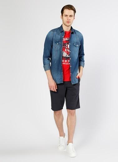 T-Box Uzun Kollu Jean Gömlek Lacivert
